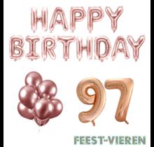 97 jaar Verjaardag Versiering Ballon Pakket rosé goud