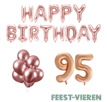 95 jaar Verjaardag Versiering Ballon Pakket rosé goud