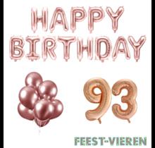 93 jaar Verjaardag Versiering Ballon Pakket rosé goud