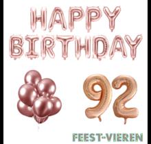 92 jaar Verjaardag Versiering Ballon Pakket rosé goud