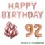 Feest-vieren 92 jaar Verjaardag Versiering Ballon Pakket rosé goud