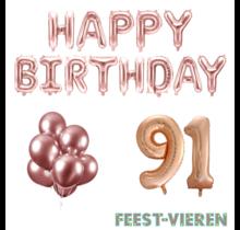 91 jaar Verjaardag Versiering Ballon Pakket rosé goud