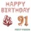Feest-vieren 91 jaar Verjaardag Versiering Ballon Pakket rosé goud