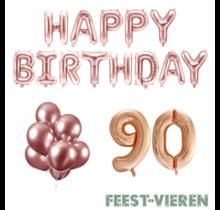 90 jaar Verjaardag Versiering Ballon Pakket rosé goud