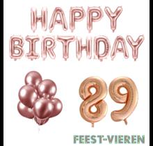 89 jaar Verjaardag Versiering Ballon Pakket rosé goud