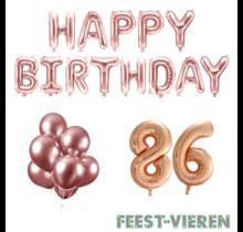 86 jaar Verjaardag Versiering Ballon Pakket rosé goud
