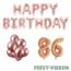 Feest-vieren 86 jaar Verjaardag Versiering Ballon Pakket rosé goud
