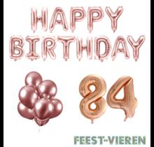 84 jaar Verjaardag Versiering Ballon Pakket rosé goud