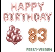 83 jaar Verjaardag Versiering Ballon Pakket rosé goud