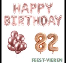 82 jaar Verjaardag Versiering Ballon Pakket rosé goud