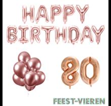 80 jaar Verjaardag Versiering Ballon Pakket rosé goud