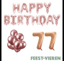 77 jaar Verjaardag Versiering Ballon Pakket rosé goud