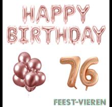 76 jaar Verjaardag Versiering Ballon Pakket rosé goud