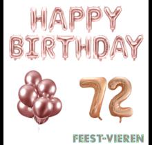 72 jaar Verjaardag Versiering Ballon Pakket rosé goud