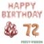 Feest-vieren 72 jaar Verjaardag Versiering Ballon Pakket rosé goud
