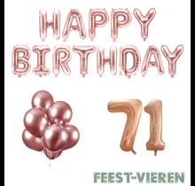 71 jaar Verjaardag Versiering Ballon Pakket rosé goud