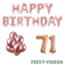Feest-vieren 71 jaar Verjaardag Versiering Ballon Pakket rosé goud