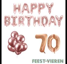 70 jaar Verjaardag Versiering Ballon Pakket rosé goud