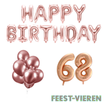 68 jaar Verjaardag Versiering Ballon Pakket rosé goud