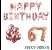 67 jaar Verjaardag Versiering Ballon Pakket rosé goud