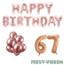 Feest-vieren 67 jaar Verjaardag Versiering Ballon Pakket rosé goud