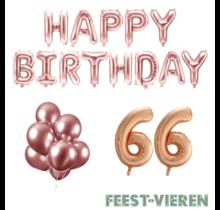 66 jaar Verjaardag Versiering Ballon Pakket rosé goud