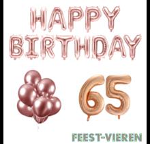 65 jaar Verjaardag Versiering Ballon Pakket rosé goud