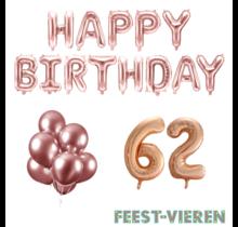 62 jaar Verjaardag Versiering Ballon Pakket rosé goud