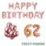 Feest-vieren 62 jaar Verjaardag Versiering Ballon Pakket rosé goud