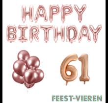 61 jaar Verjaardag Versiering Ballon Pakket rosé goud