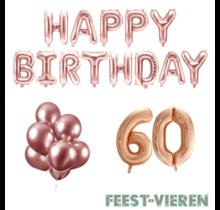 60 jaar Verjaardag Versiering Ballon Pakket rosé goud