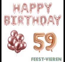 59 jaar Verjaardag Versiering Ballon Pakket rosé goud
