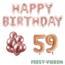 Feest-vieren 59 jaar Verjaardag Versiering Ballon Pakket rosé goud