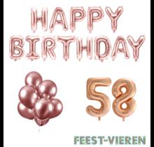 58 jaar Verjaardag Versiering Ballon Pakket rosé goud