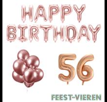 56 jaar Verjaardag Versiering Ballon Pakket rosé goud