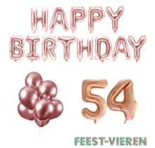 54 jaar Verjaardag Versiering Ballon Pakket rosé goud