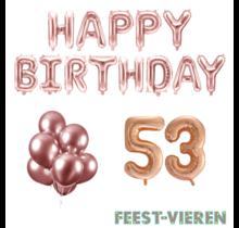 53 jaar Verjaardag Versiering Ballon Pakket rosé goud