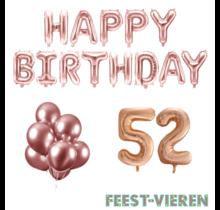 52 jaar Verjaardag Versiering Ballon Pakket rosé goud