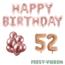 Feest-vieren 52 jaar Verjaardag Versiering Ballon Pakket rosé goud