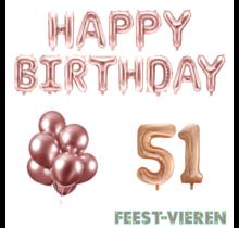 51 jaar Verjaardag Versiering Ballon Pakket rosé goud