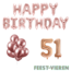 Feest-vieren 51 jaar Verjaardag Versiering Ballon Pakket rosé goud