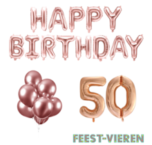 50 jaar Verjaardag Versiering Ballon Pakket rosé goud