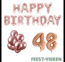 48 jaar Verjaardag Versiering Ballon Pakket rosé goud