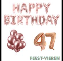 47 jaar Verjaardag Versiering Ballon Pakket rosé goud