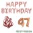 Feest-vieren 47 jaar Verjaardag Versiering Ballon Pakket rosé goud