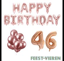 46 jaar Verjaardag Versiering Ballon Pakket rosé goud