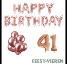 41 jaar Verjaardag Versiering Ballon Pakket rosé goud