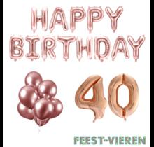 40 jaar Verjaardag Versiering Ballon Pakket rosé goud
