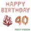 Feest-vieren 40 jaar Verjaardag Versiering Ballon Pakket rosé goud