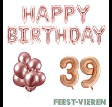 39 jaar Verjaardag Versiering Ballon Pakket rosé goud